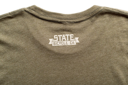 "State Bicycle Co. - ""Explore Your State"" - Premium T-Shirt (Olive) (Ships via USA)"