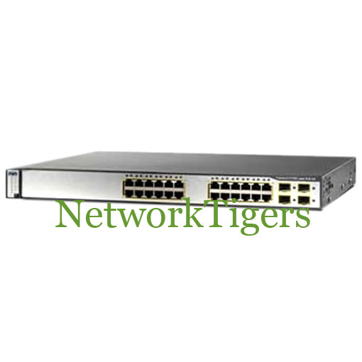 Cisco WS-C3750G-24PS-S 24x Gigabit Ethernet PoE 4x 1G SFP IP Base Switch - NetworkTigers