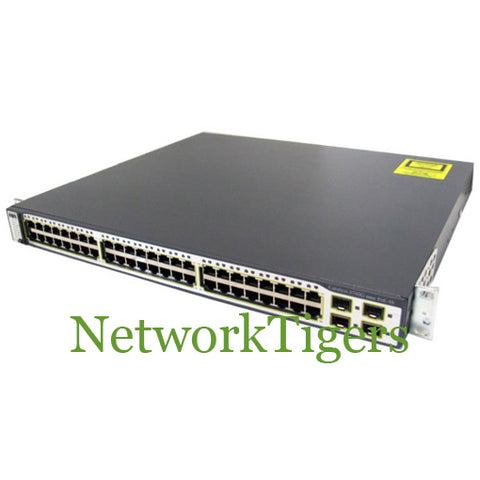 Cisco WS-C3750G-48PS-S 48x Gigabit Ethernet PoE 4x 1G SFP IP Base Switch - NetworkTigers