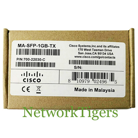 NEW Cisco Meraki MA-SFP-1GB-TX 1GB BASE-TX Optical SFP Transceiver