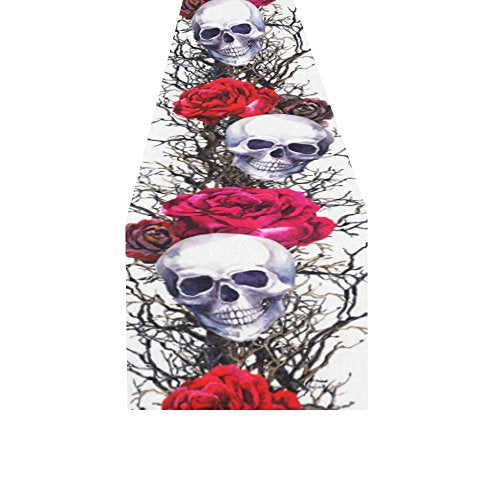 sugar skull roses table runner decor