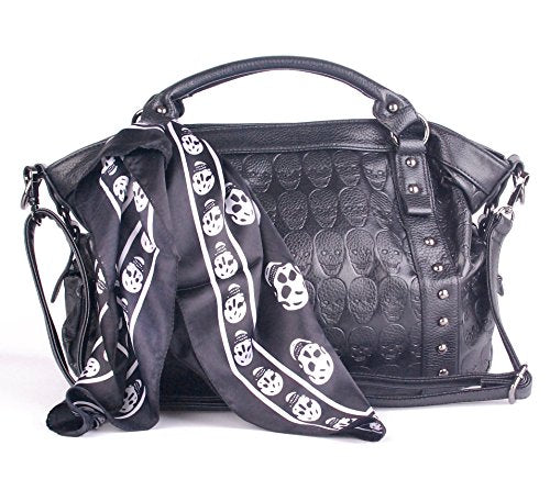 f7d9ddd7da54 Leather Women Black Skull Black Satchel Handbag - My Niche Deals