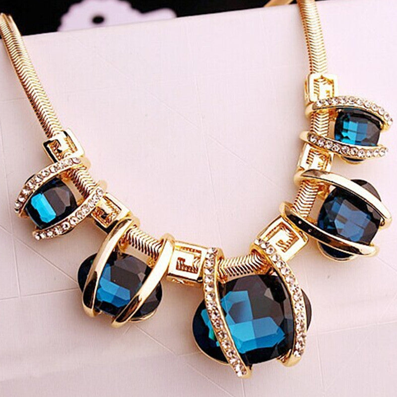 fashion drop blue heart crystal necklace pendant tear