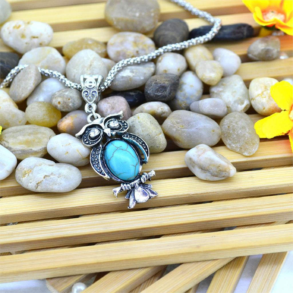 Vintage Necklace Owl Necklace Turquoise silver chain
