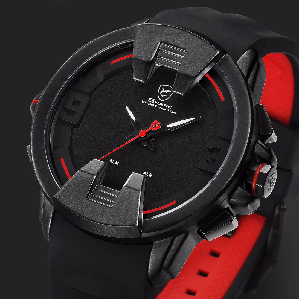 838d07b6f Shark Mens Over-sized Crown Analog Sport Watch