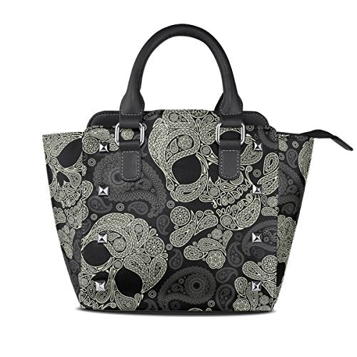 7fd219ddf3ee Paisley Skull Leather Mini Handbag - My Niche Deals