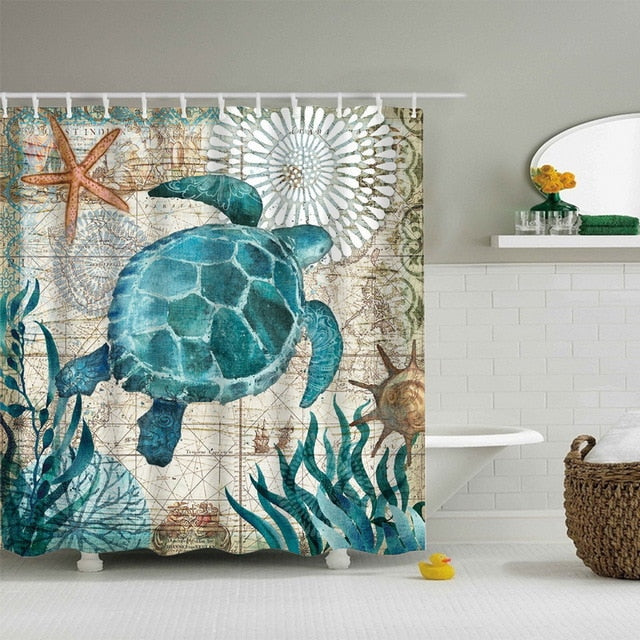 Sea Turtle Print Waterproof Shower Curtain With 12 Hooks