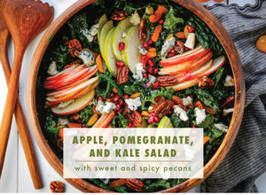 Fresh Flavors in a Fall Salad: Apple, Kale, Pomegranate Salad with Spicy Pecans