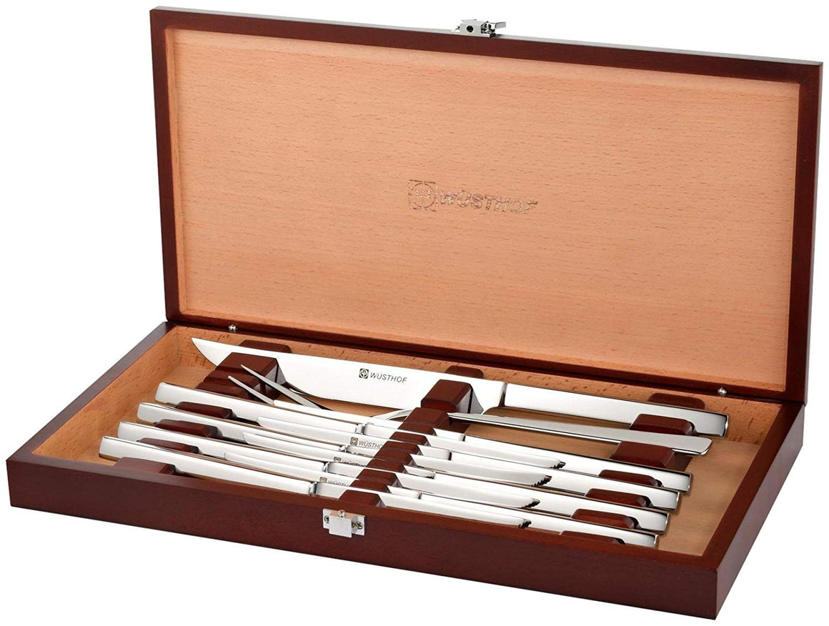 Wusthof Stainless 10-Piece Steak Knife & Carving Set, Rosewood