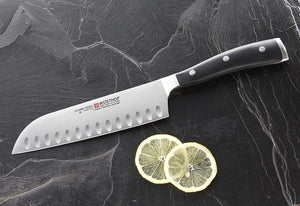 "Wusthof Ikon 7"" Santoku, Hollow Edge"