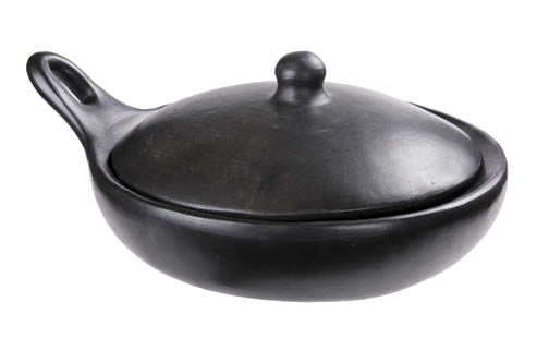 Chamba Black Clay Saute Pan With Cover Toque Blanche