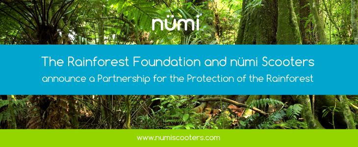 The Rainforest Foundation and nümi Scooters announce a Partnership for the Protection of the Rainforest
