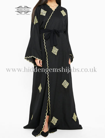 NAZIA  Black & Gold Wrapover Abaya Made to Order