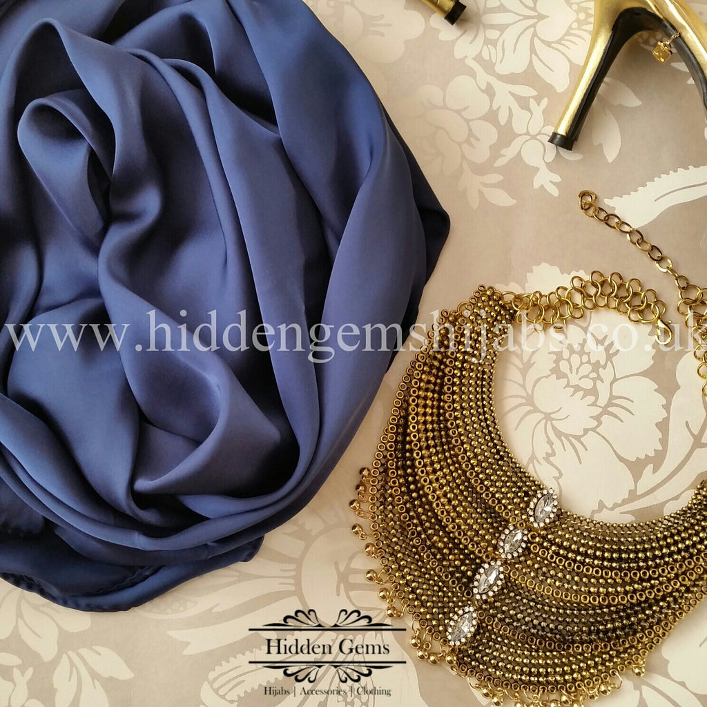 Navy | Luxury Satin Hijab