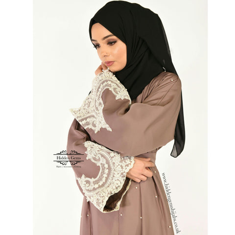 Latte Pearl open Abaya| Preorder