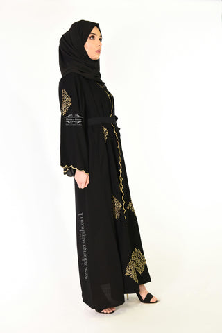 *NAZIA  Black & Gold Wrapover Abaya Ready to Dispatch