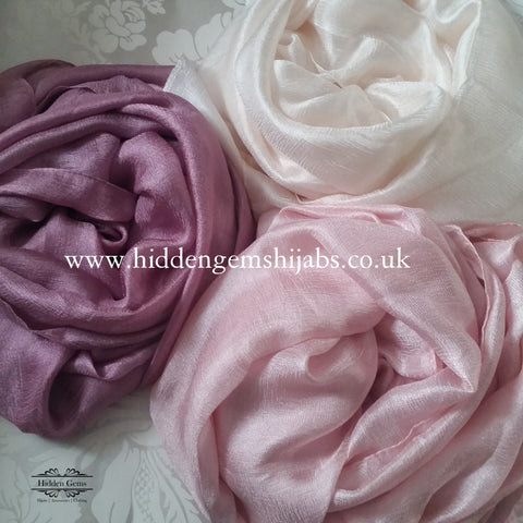 Pink tones silk shimmer hijabs