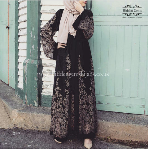 *ASIYAH Ready to Dispatch | Black Velvet Chiffon Open Abaya