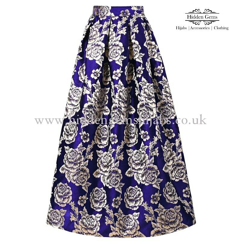 *SALE* Blue & Gold floral maxi Ballgown skirt