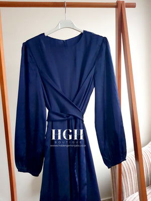 *New* Noura Satin Wrap Dress | Navy