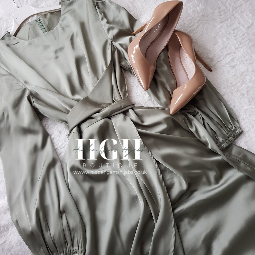 Noura Satin Wrap dress | Sage