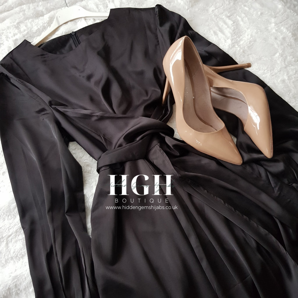 Noura Satin Wrap dress | Noir