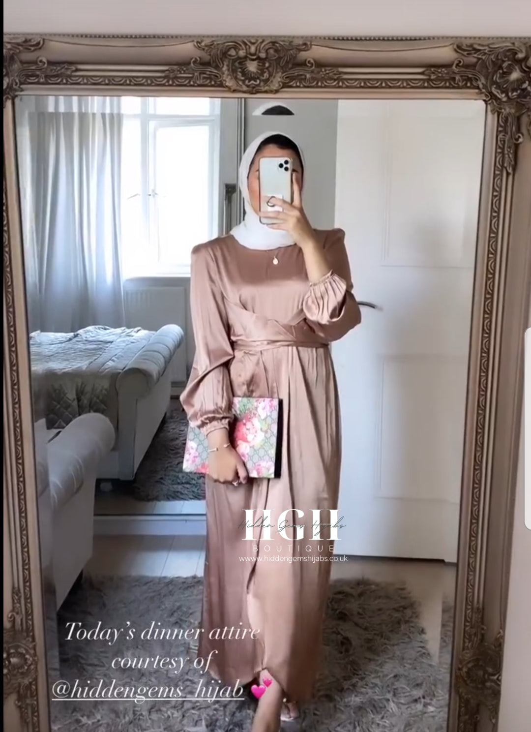 Noura Satin Wrap dress | Bronze