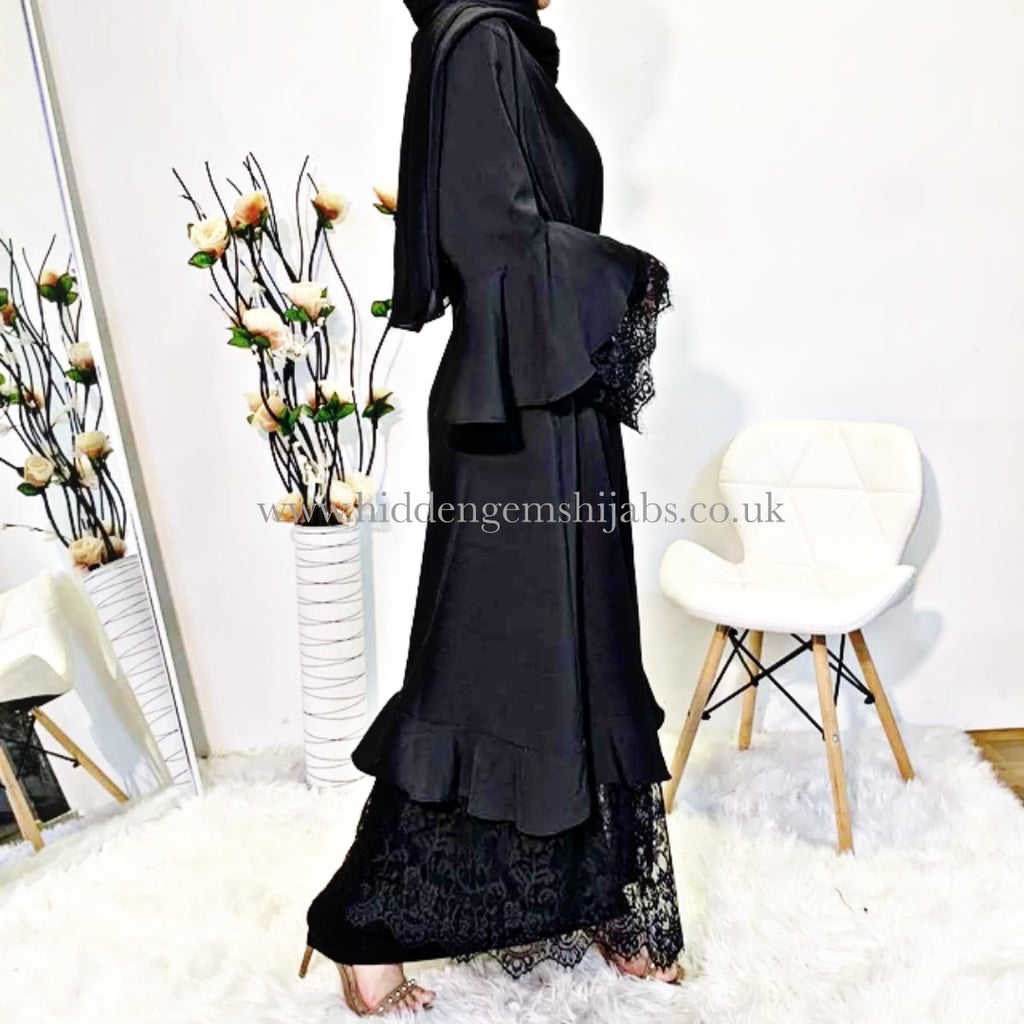 Layla Lace and Frill Open Abaya