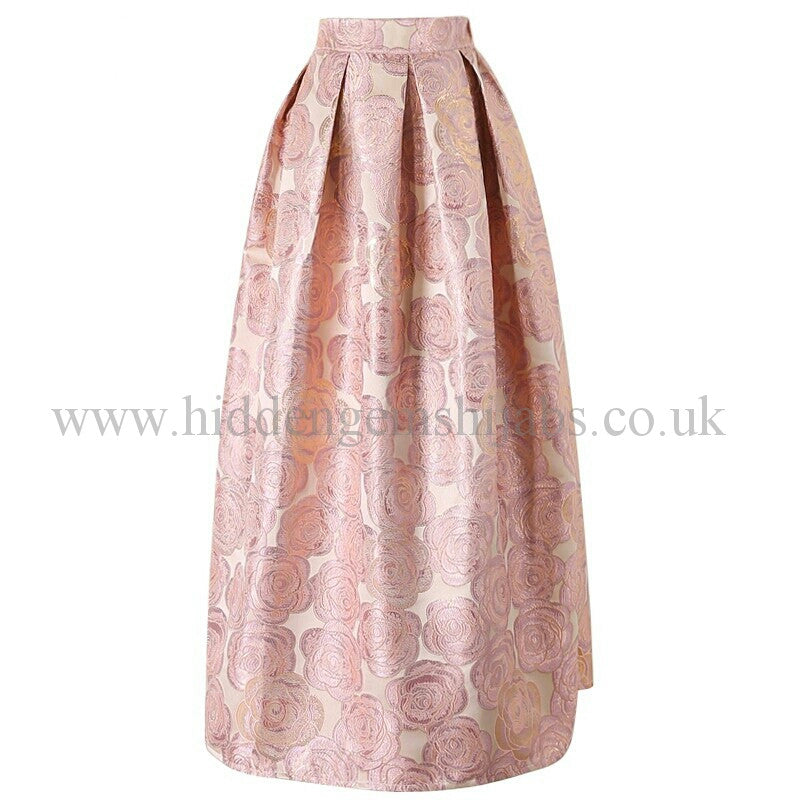 EXCLUSIVE Jacquered Rose Maxi Ballgown Skirt | Pink