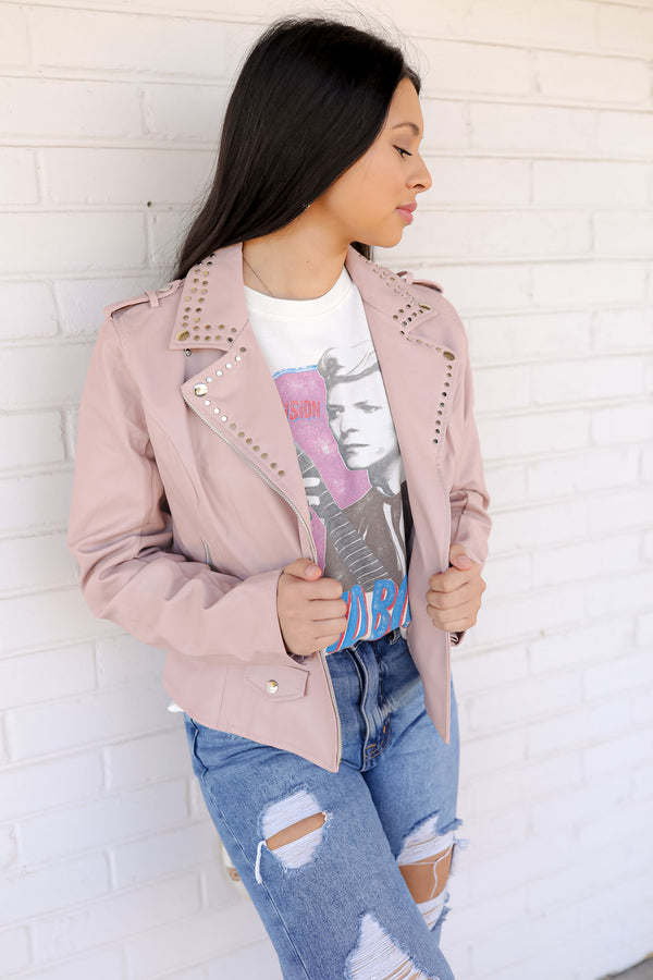 BuddyLove Trish Studded Faux Leather Jacket - Blush