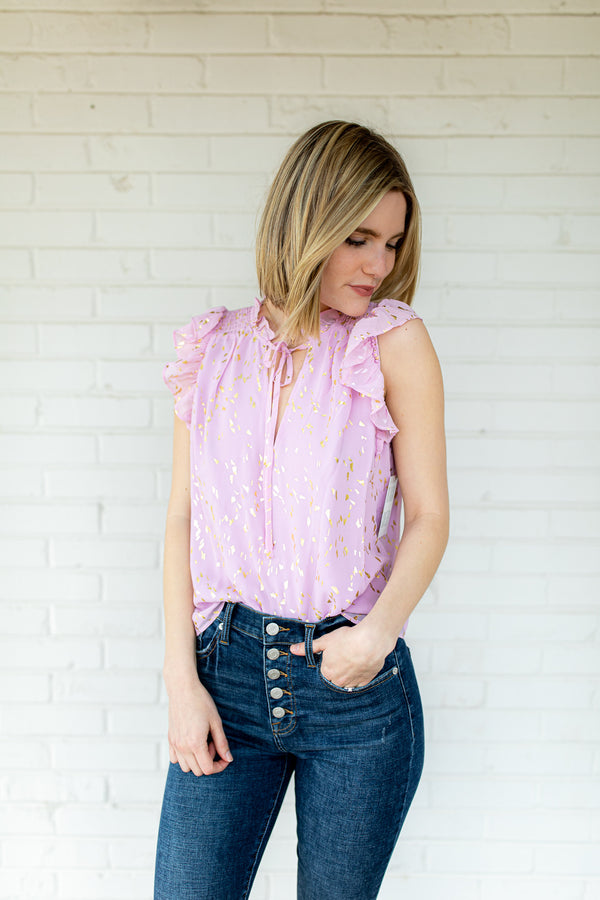 BuddyLove Victoria Ruffled Sleeve Top - Carnation