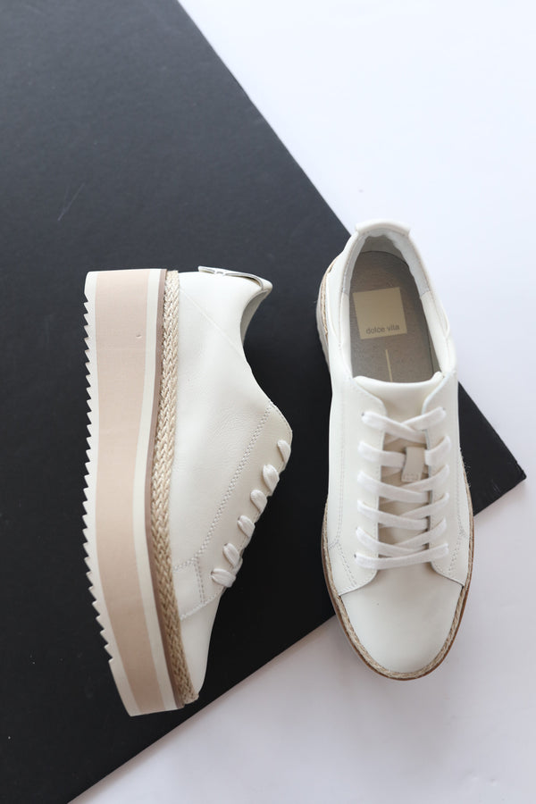 Dolce Vita Tinley Sneakers in Ivory Leather