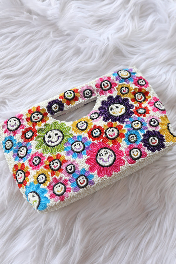 Smiley Flowers Beaded Clutch