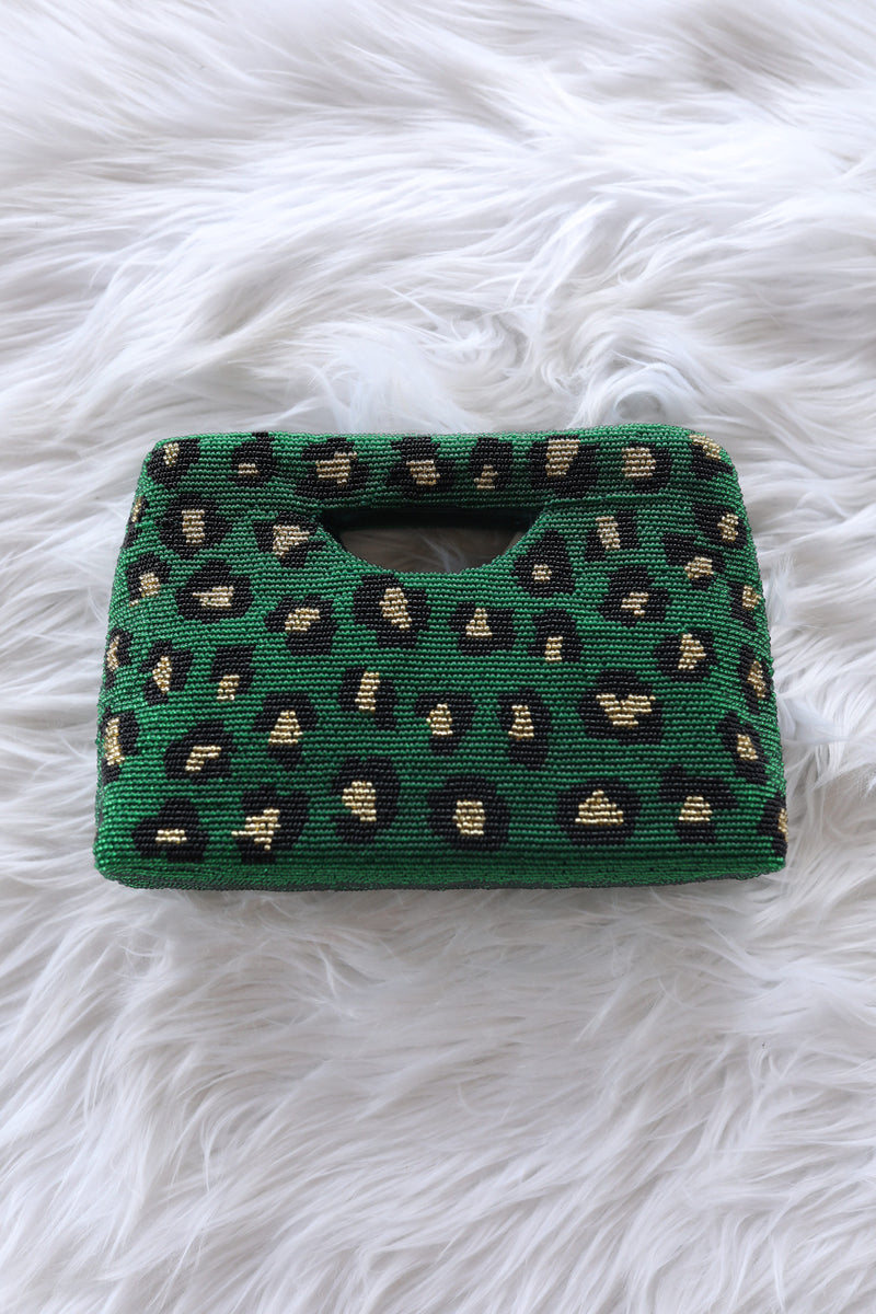 Green Leopard Beaded Clutch