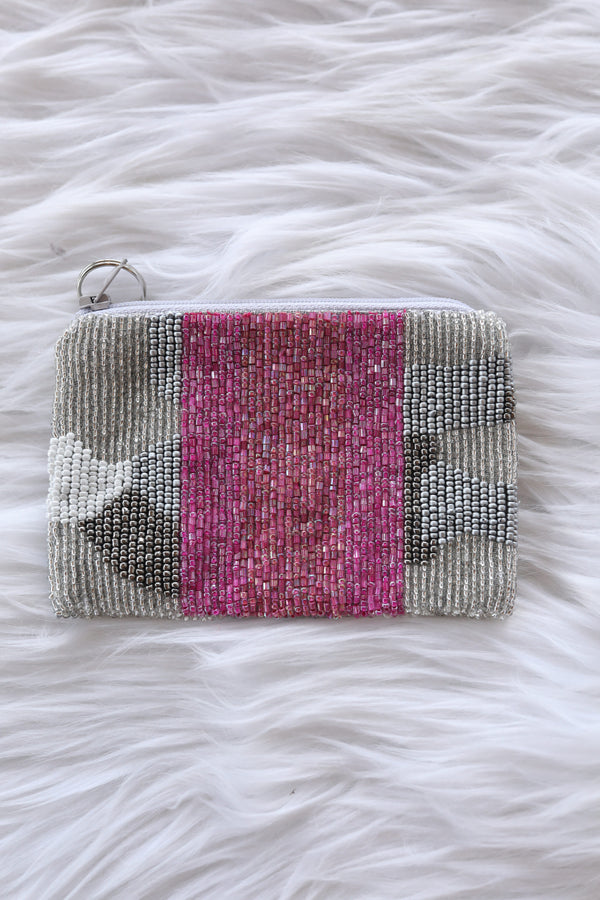 Silver and Pink Camo Coin Purse