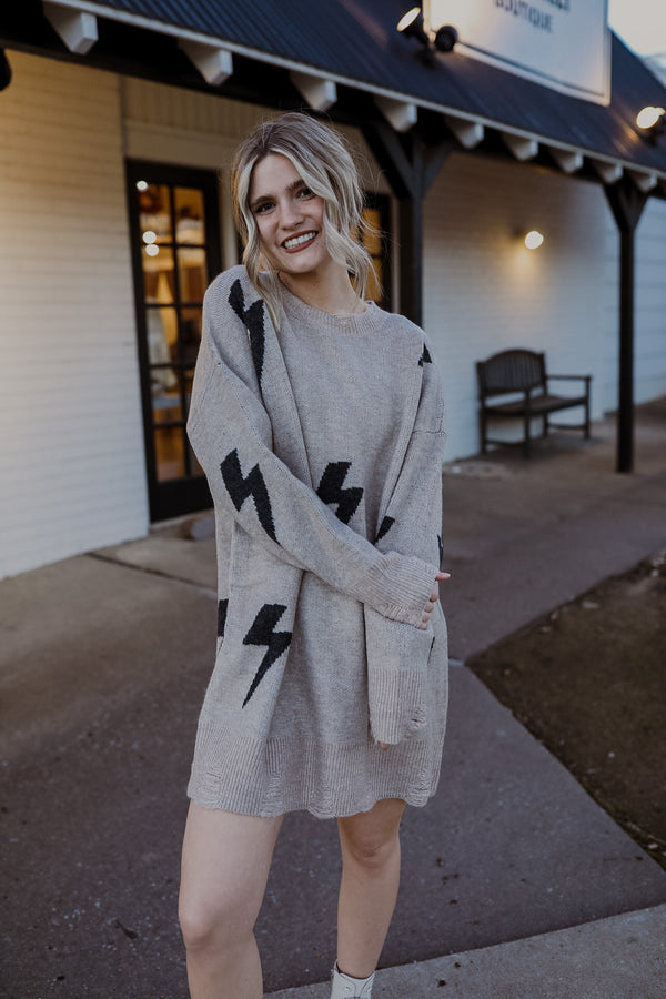 Bolt Sweater Dress - Khaki