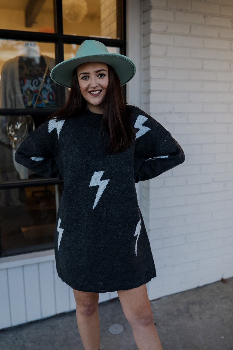 Bolt Sweater Dress - Charcoal