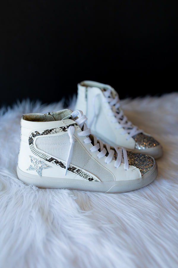 Shannon High Top Sneakers - White Snake
