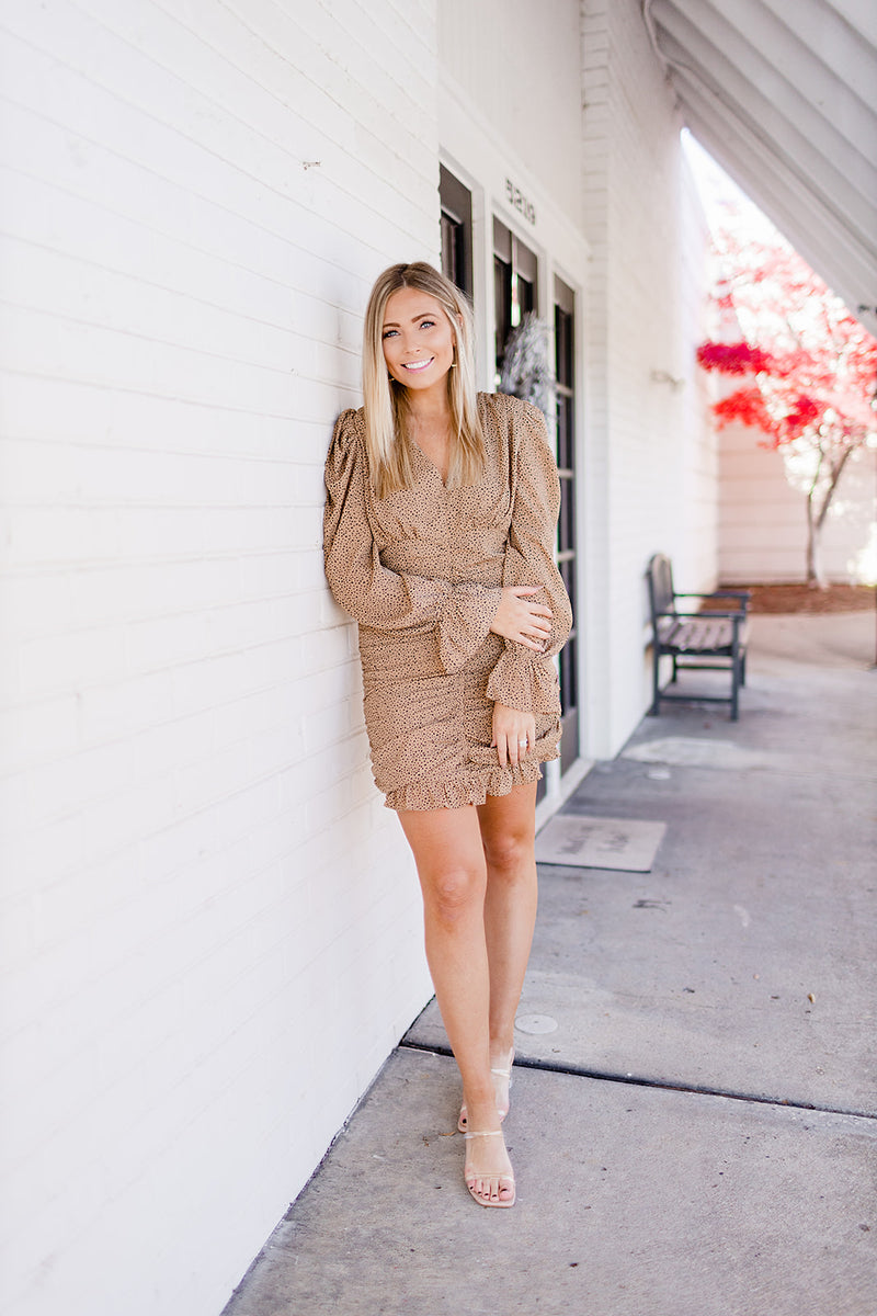 Baby Bell Spotted Dress - Camel