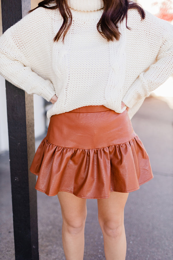 Ruffled Up Faux Leather Skort - Camel