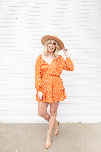 Patio Time Orange Floral Dress