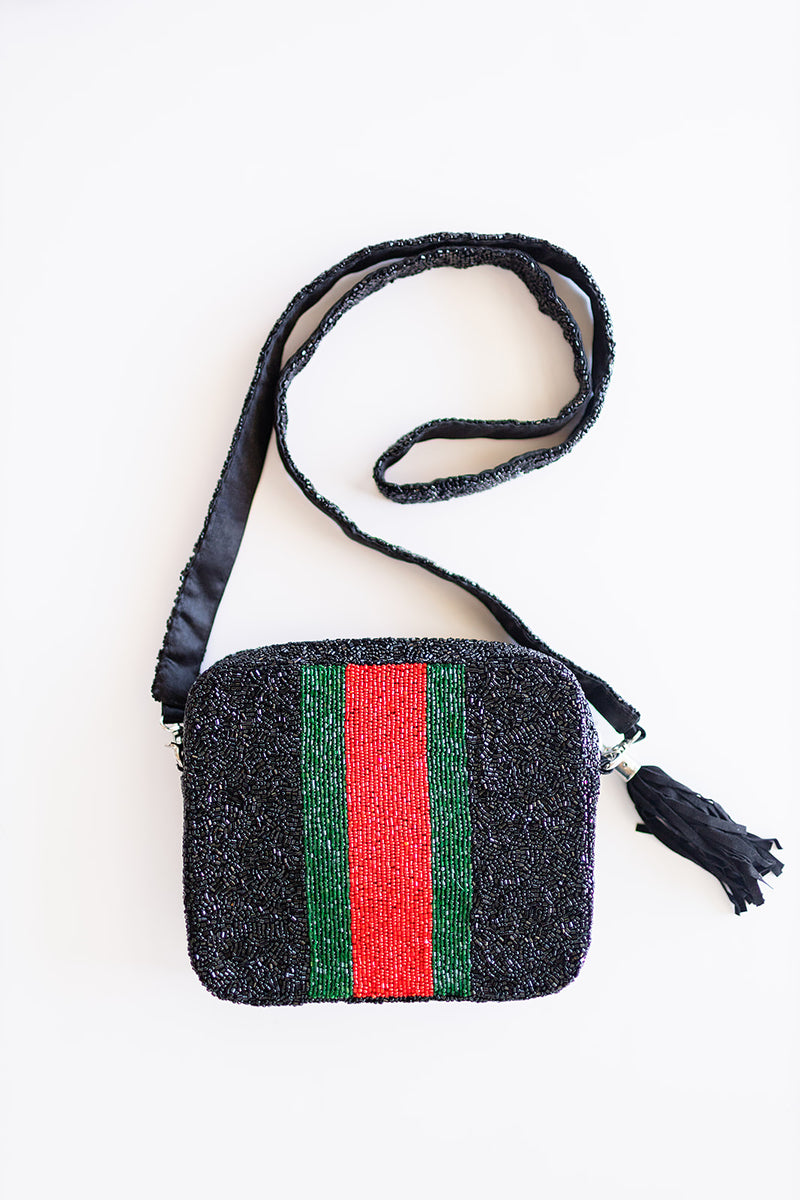 Beaded Red and Green Box Bag
