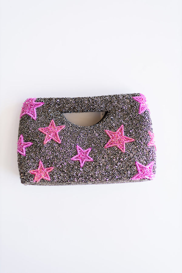 Beaded Handle Clutch - Pink Stars