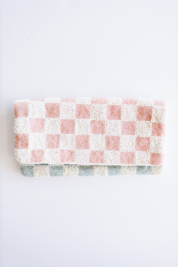 Beaded Pink and Blue Check Clutch