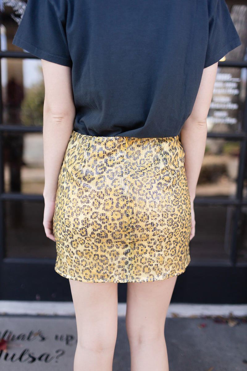 Who's That Sequin Leopard Skirt