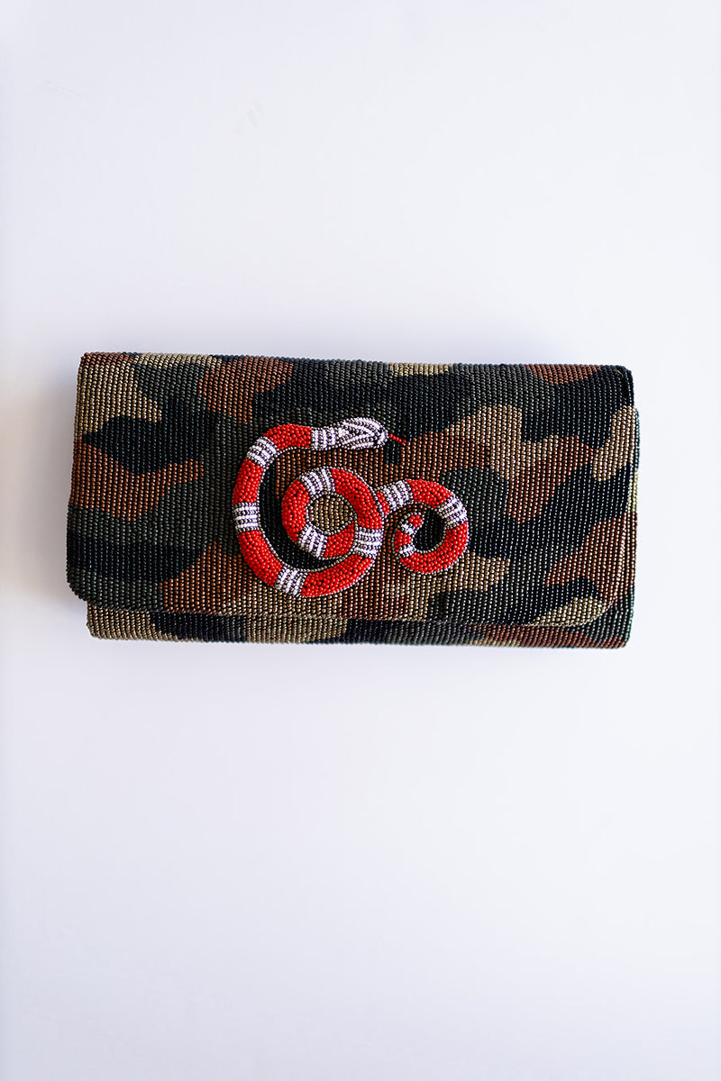 Medium Structured Beaded Snake Clutch