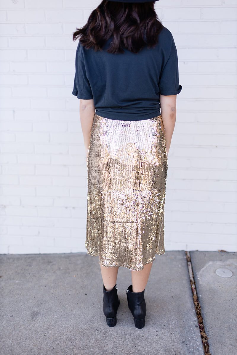 BuddyLove Cardi Sequin Midi Skirt - Gold