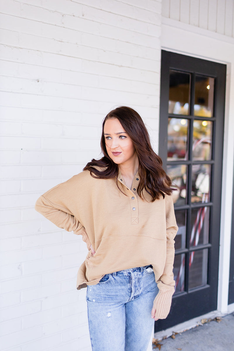 Cozy Casual Oversized Top - Taupe