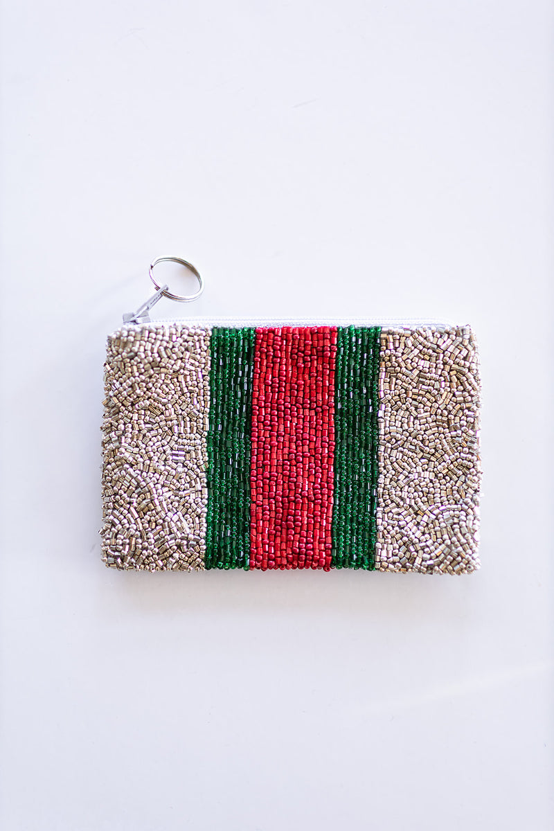 Silver Coin Purse - Red and Green Stripe