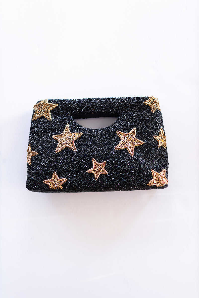 Beaded Handle Clutch - Gold Stars